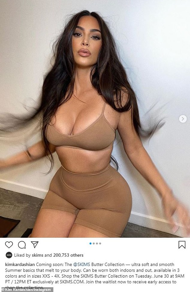 Vibes:The 39-year-old star shared racy snaps of herself wearing the neutral hued pieces, highlighting her slim waist and her hourglass figure