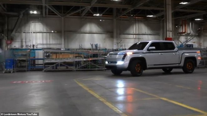 The new Endurance pickup truck is seen driving inside the company's factory in Ohio