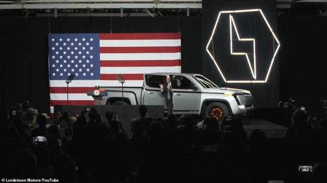 Vice President Mike Pence rode onstage in the passenger seat of the new Endurance electric pickup truck at an unveiling event on Thursday in Lordstown Motors' Ohio factory