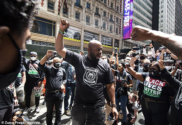 Hawk Newsome pictured at a Black Lives Matter rally in New York City on June 7