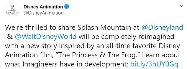 Disney has announced it will ditch Splash Mountain's 'racist' theme based off the 1946 film Song of the South and will reimagine it after Princess and the Frog, the franchise's first black royal