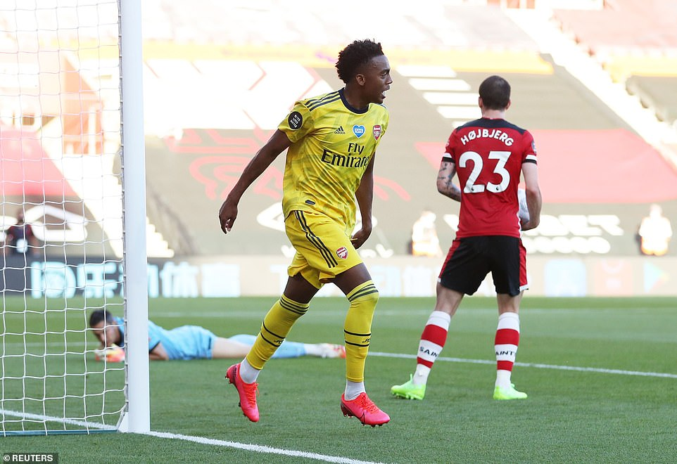 Joe Willock celebrates scoring his first ever Premier League goal, which made sure of Arsenal's victory v Southampton