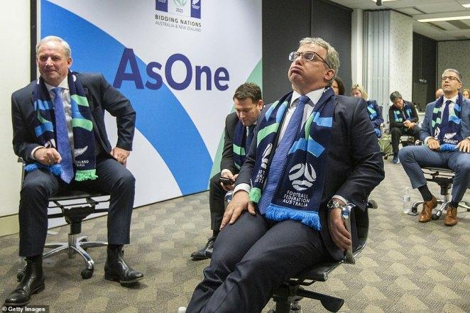 Chairman of Football Federation Australia Chris Nikou sighs as he waits for the announcement overnight