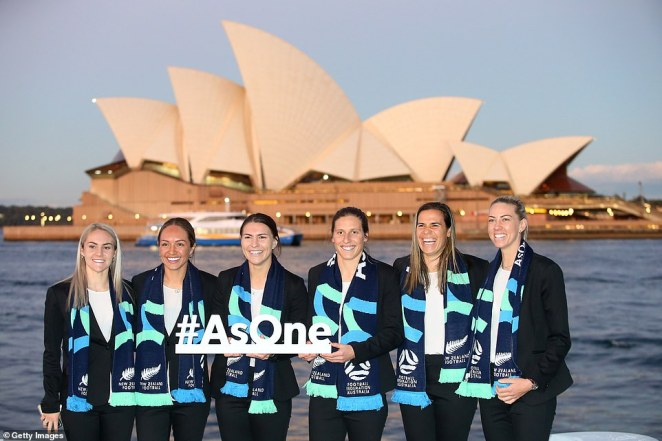 Ellie Carpenter, Kyah Simon, Steph Catley, Rebekah Stott, Lydia Williams and Alanna Kennedy pose ahead of the announcement in front of the Sydney Opera House on Thursday