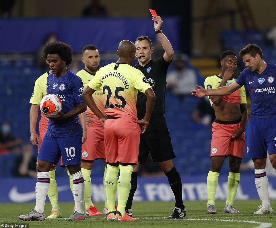 After a review by the VAR, Fernandinho was sent off by Attwell and Chelsea were given the chance to score from the spot