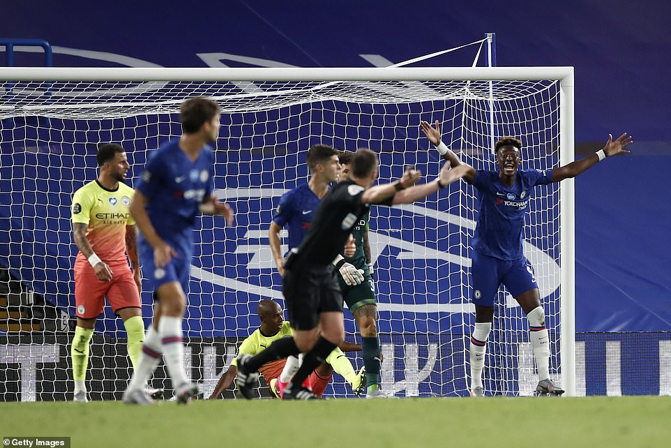 Chelsea's players – led by Tammy Abraham – remonstrate with referee Stuart Attwell after Fernandinho's block on the line
