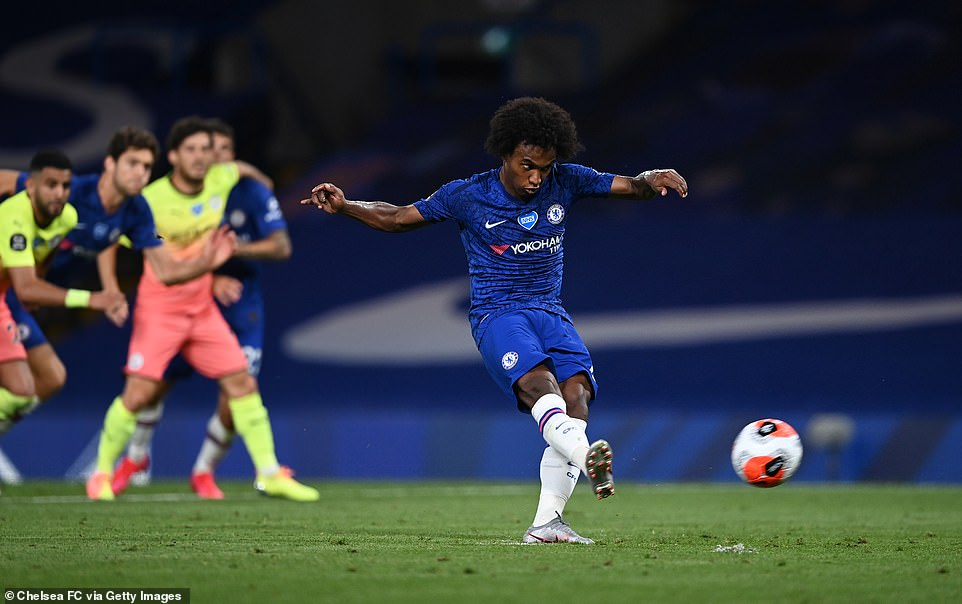 Willian stepped up to hit home the penalty, give Chelsea the win and hand the Premier League title to Liverpool