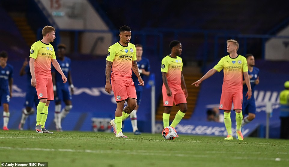 City's players show their dejection after Willian's penalty confirmed that they were ceding the title to Liverpool on Thursday