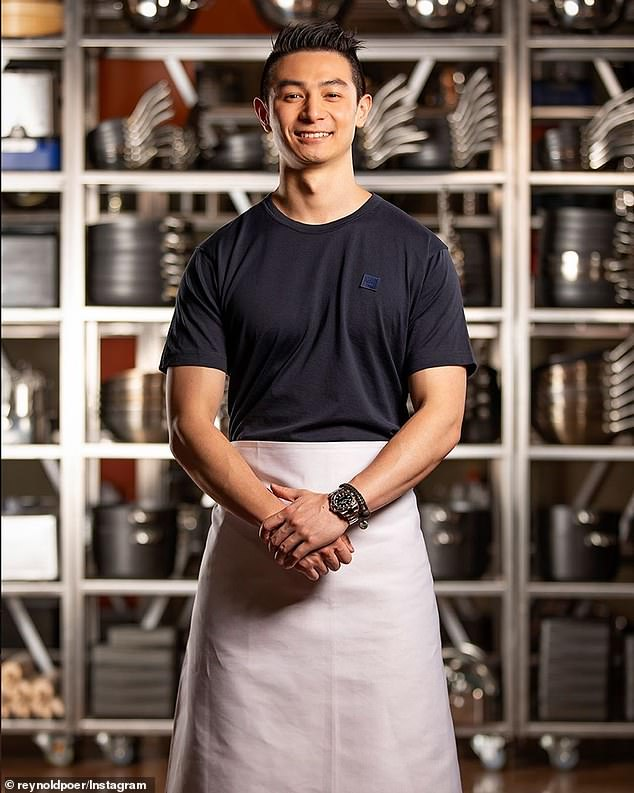 Back in the fold: MasterChef's Reynold Poernomo (pictured)seems to have been forgiven by his gay co-stars after his homophobic forum posts from 2014 were exposed last month
