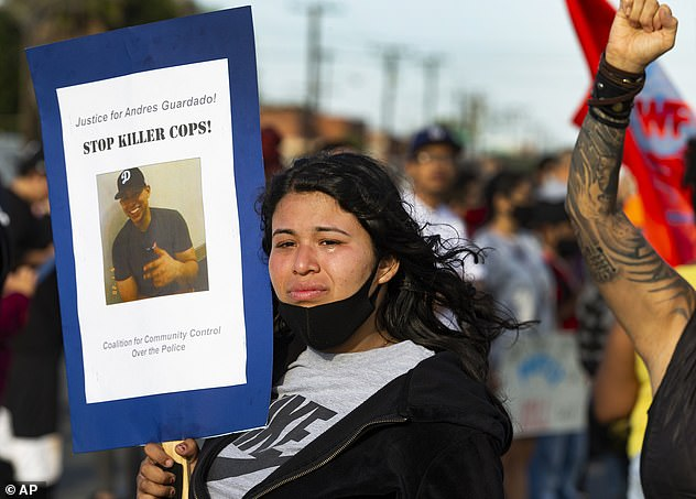 Guardado's sister, Jennifer Guardado (above) has urged officials to further examine the circumstances leading up to her sibling's death in Gardena on Thursday night