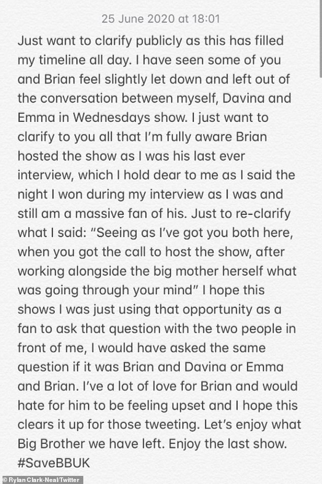 Statement: Rylan went to Twitter to respond to fans who criticized the series for making no mention of Brian's hosting of the series during Wednesday's episode when Emma made an appearance