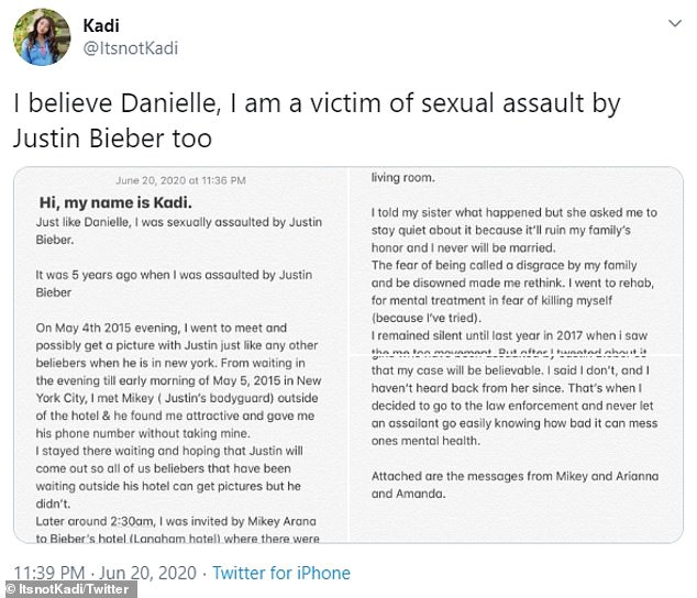 Twitter user Kadi claimed that Bieber had sexually assaulted her in her room at the Langham hotel in New York at 2:30 a.m. on May 5, 2015, but a photo on social media would show the opposite.