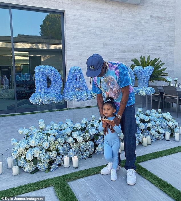 Babydaddy: On Sunday, Jenner threw a Father's Day party for Grammy-nominated rapper Travis Scott, whom she split from in September after two years (pictured Sunday)