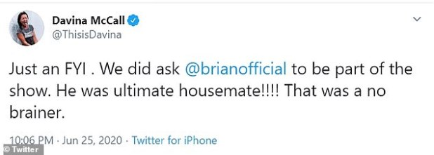 Explanation: Davina took to Twitter to clarify that Brian was offered the chance to appear on Best Shows Ever