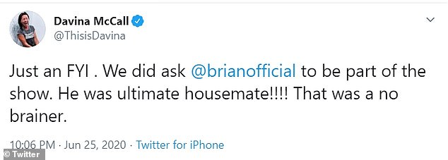Explanation: Davina spoke to Twitter to say that Brian had the chance to appear in the best shows of all time