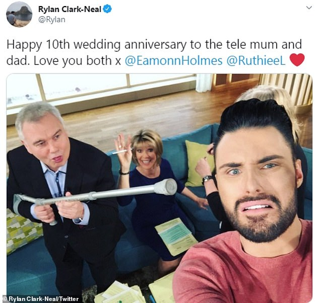 Touching tribute: Rylan Clark-Neal shared a nice message to his 'tele mum and dad' with a post on Twitter