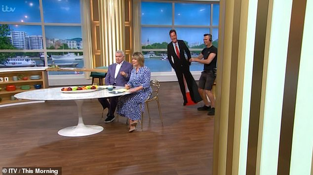 Surprise: Eamonn joked that Piers should be so lucky to look like him during the segment on This Morning