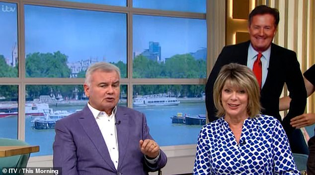 Having a laugh: A member of the crew on This Morning pranked Ruth Langsford by hiding a life-size cutout of Piers Morgan outside the toilets