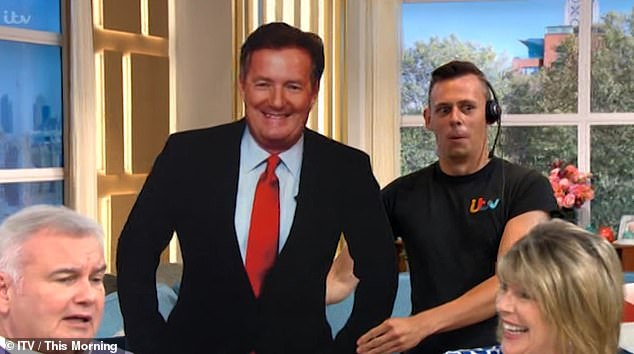 Terrifying: The TV presenter screamed in terror when confronted by the large cutout during a break