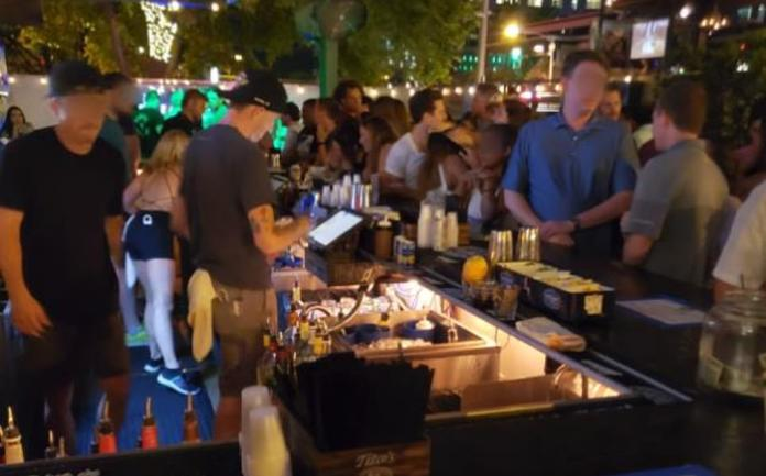 TEXAS: Party people crowded this Tango Foxtrot Whiskey Bar in Austin, Texas last month after Gov Abbott initially lifted restrictions