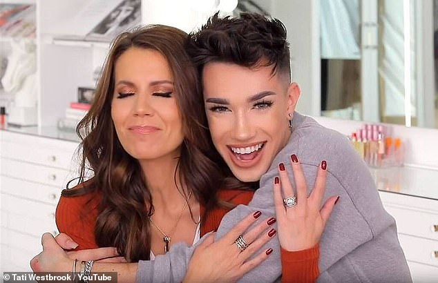 Dawson also apologized for calling out YouTube star, James Charles (right), who was involved in an online feud with fellow internet personality Tati Westbrook (left). Westbrook last year released a tell-all video attacking Charles for his behavior towards herself and other males