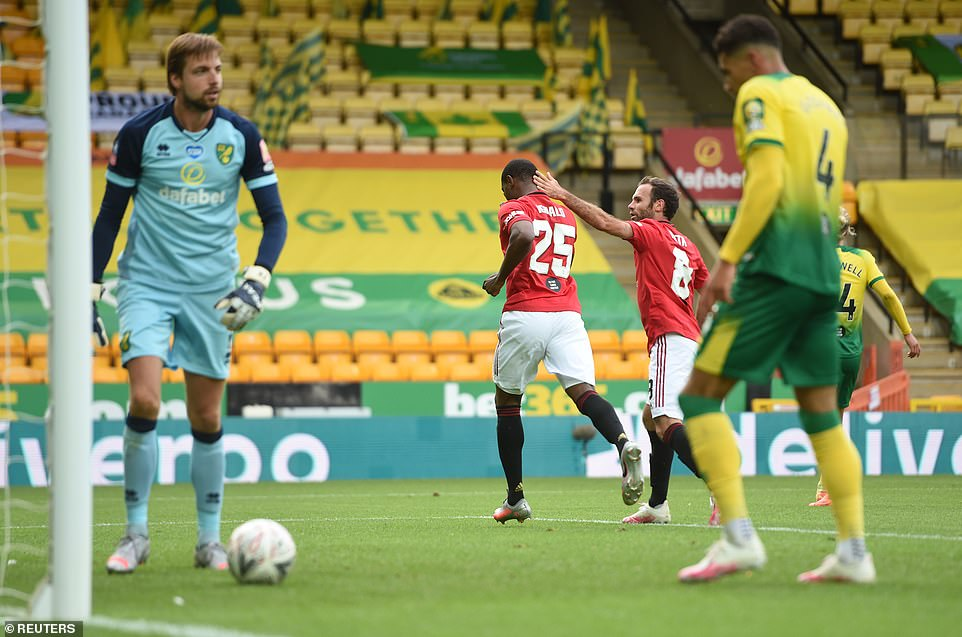 Odion Ighalo continued his record of scoring in every game he has started for United with a close-range flick after 51 minutes