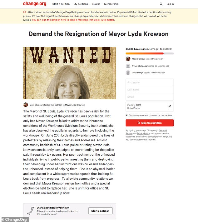 More than 27,000 people have signed a petition demanding Mayor Lyda Krewson's resignation
