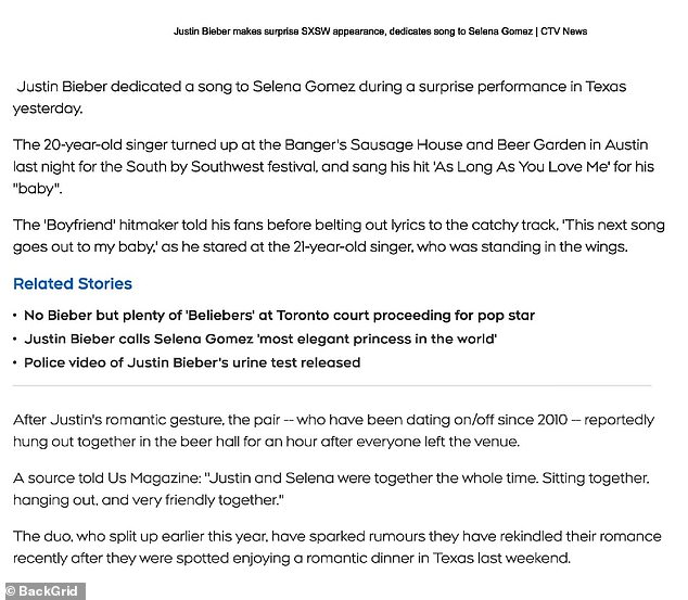 Report notes Bieber and Gomez hung out in the brewery for half an hour after everyone left