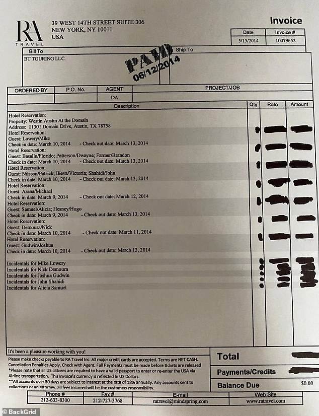 The receipt for the stay of Bieber and his entourage at the Westin Austin at the estate is included in the evidence. Bieber apparently stayed under the alias Mike Lowery