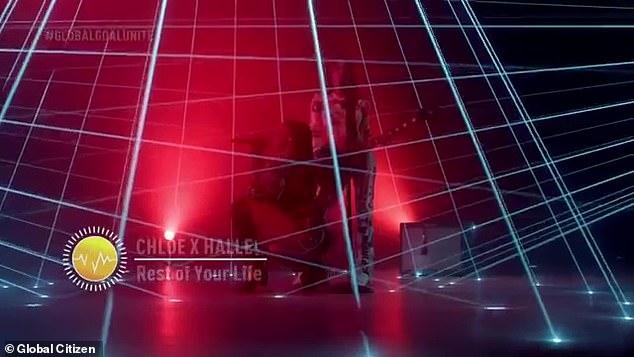On the theme: Sometimes the lights formed tiles resembling lines of latitude and longitude, perhaps a reference to the overall theme of the concert
