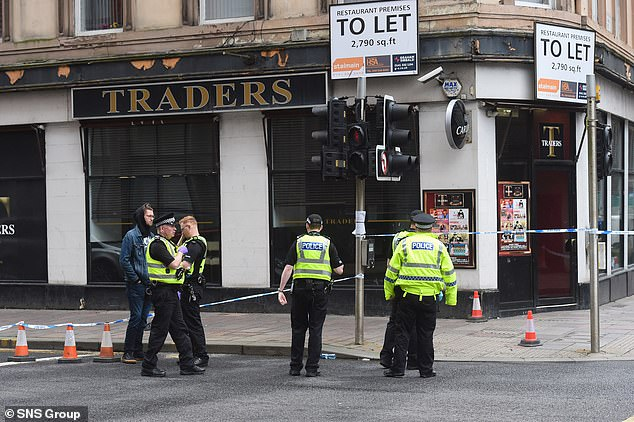 Police respond to incident just off Argyle Street in Glasgow, Scotland, this afternoon