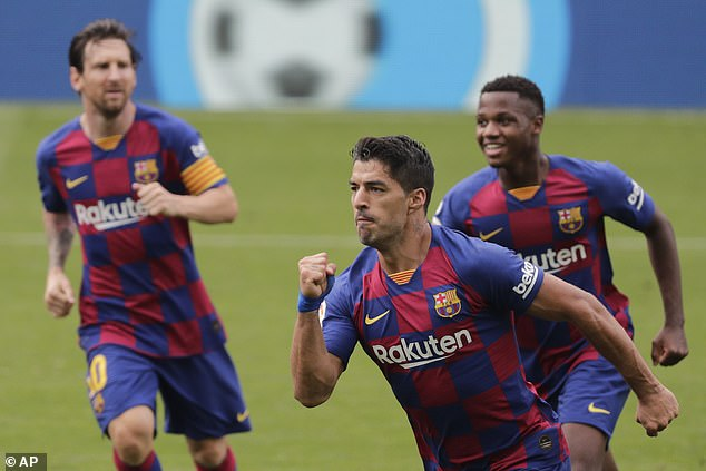 Suarez (before) had twice given Barcelona the lead against Celta Vigo on Saturday afternoon