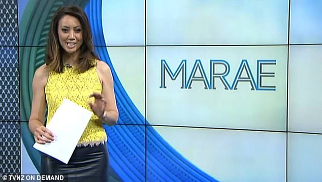 Ms Kamo (pictured) said she lost a baby while live on air but had to continue until the end of the segment