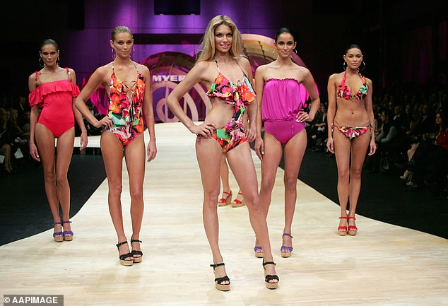 Mr Langdon said the company will operate as usual while the business is assessed but up to 120 staff are at risk of losing their jobs (pictured:Model Jessica Hart (front) in Seafolly)