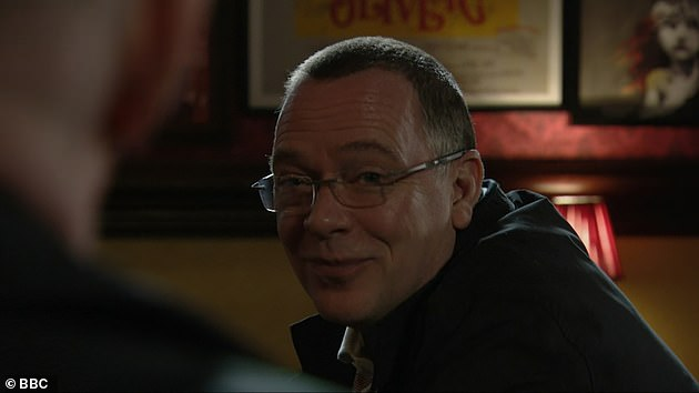 Smug: The camera then turned on Ian Beale (Adam Woodyatt), Mick and Linda, while Phil was left bubbling over the dramatic bomb