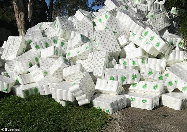 Pictured: The huge mountain of toilet paper lying on public land in the suburb next to Ms Deng's home. She and her staff were in the process of moving the shipment into storage at her home