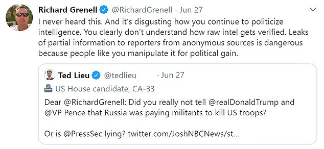 Richard Grenell, who served as acting director of national intelligence until last month, tweeted on the matter: 'I never heard this. And it's disgusting how you continue to politicize intelligence'
