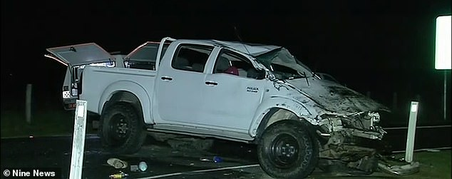 The Toyota Hilux pictured after the horrific accident at Chambers Flat on Sunday