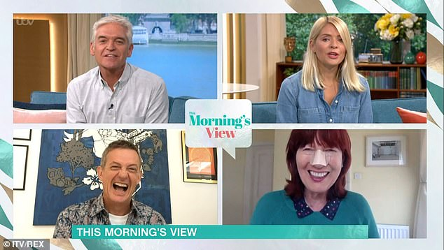 Checking in: This Morning hosts Phillip Schofield and Holly Willoughby along with Matthew Wright checked Janet was ok when the segment started and she soon had them smiling