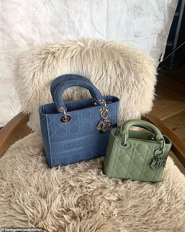 Nice bag! One image showed the blue Medium Lady-Lite bag, featuring black Cannage embroidery and valued at $6,485