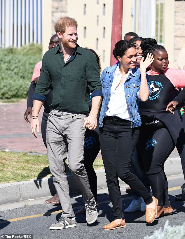 In the unseen snap, the Duchess of Sussex appeared to be wearing the same linen shirt and black jeans she donned to Monwabisi Beach in Cape Town on 24 September 2019