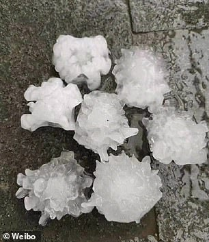 The picture shows a few hailstones resembling the shape of the coronavirus cells