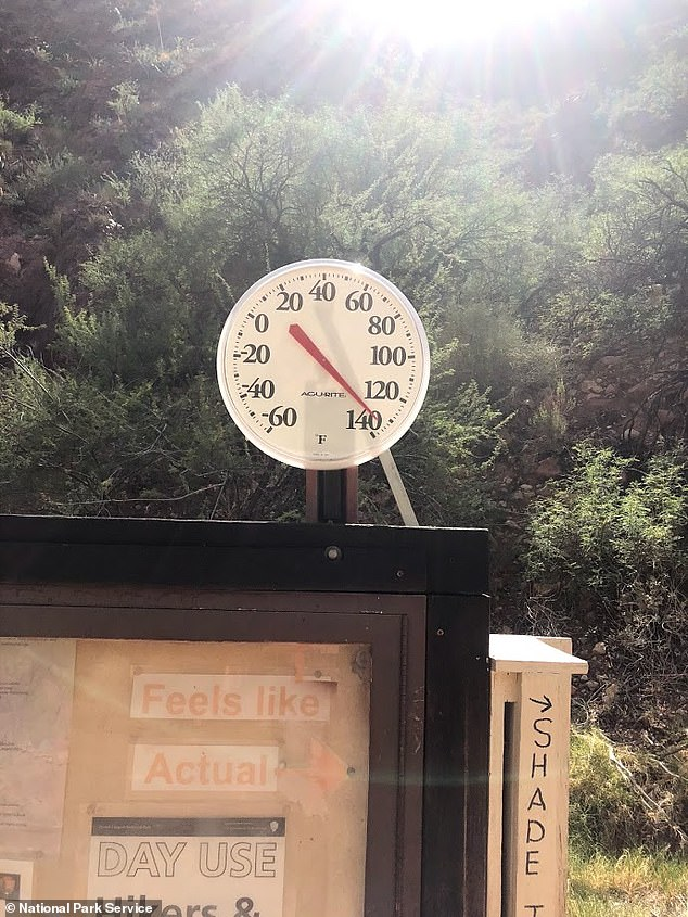 Temperatures reached 114 degrees on Wednesday, though the National Park Service warns hikers that it could feel even hotter if they are directly exposed to sunlight