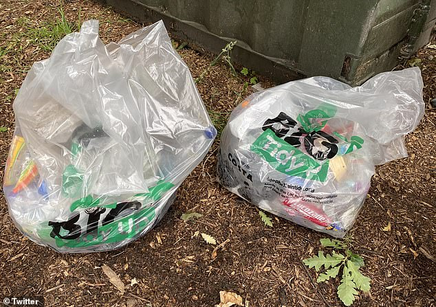 There were similar scenes in Norris Green Park, Liverpool, where volunteers spent this morning collecting litter and broken glass which was abandoned on the grass