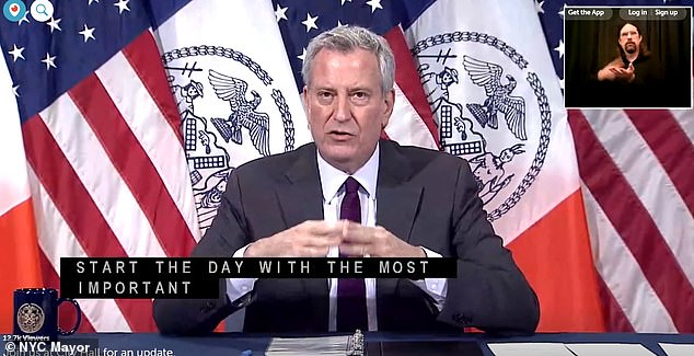 New York City Mayor Bill de Blasio (pictured) announced Monday that indoor dining may not be included in phase 3 of reopening the Big Apple after California, Texas and Florida saw massive spikes in coronavirus cases that stemmed from people gathering inside restaurants and bars