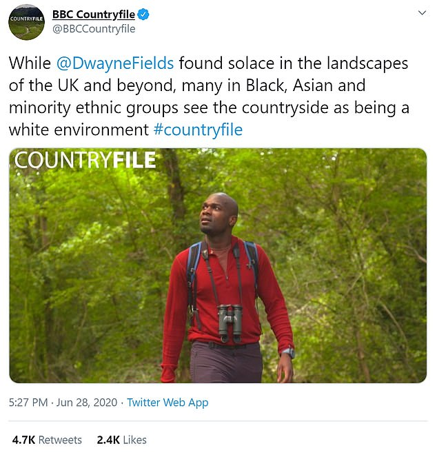 The BBC programme aired an episode last night in which Dwayne Fields, above, investigated a DEFRA report saying some ethnic groups felt the UK's national parks are a 'white environment'