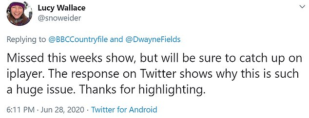 TV presenter Mr Fields addressed the debate while other social media users praised the episode for 'highlighting' the issue, following last night's segment