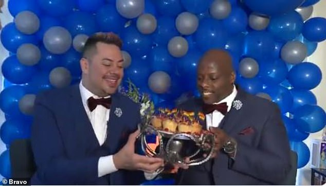 Treats:The glowing grooms also got 'Persian love cakes' decorated with tiny rainbow flags baked by Top Chef: All-Stars LA contestant Stephanie Cmar