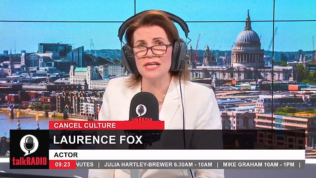 He said Talkradio Julia Hartley-Brewer, on the photo, that the cancellation of the culture, where people face calls for their careers to be ended perceived faux pas, is