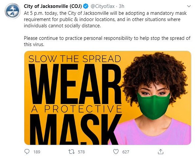 Jacksonville City officials announced Monday afternoon they are imposing a mandate ordering all indoor locations will require people to wear masks – and at outdoor location where social distancing is impossible, like the beach